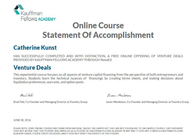 Kauffman Venture Deals Certification