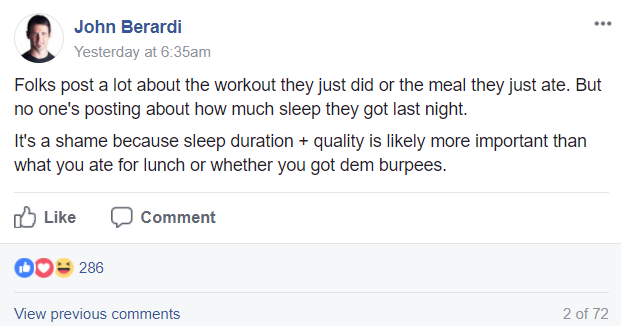 Facebook post from John Berardi to Precision Nutrition Certification Students & Grads